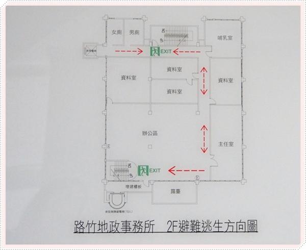 二樓避難逃生方向圖